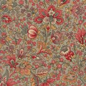 Moda Madam Rouge by French General - 5683 - Stylised Floral on Beige  - 13770 14 - Cotton Fabric
